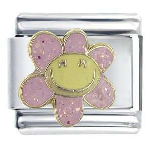 Happy Face Flower Italian Charms Bracelet Link Pugster Jewelry