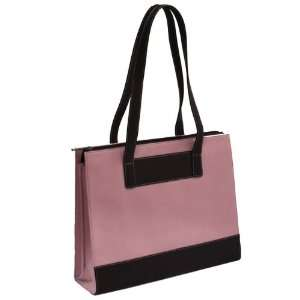 Leather & Twill Ladies Laptop Computer Tote Bag   Pink Electronics