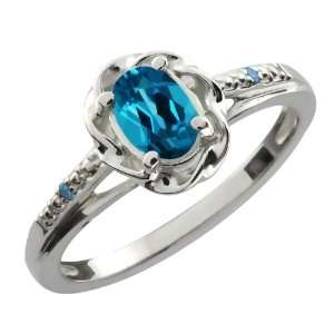 Oval London Blue Topaz and Blue Diamond Sterling Silver Ring Jewelry