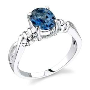 Rhodium Finish 1.50 cts Oval Shape London Blue Topaz Ring Size 6