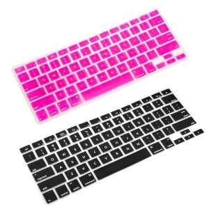 Keyboard Cover Case Skin for Apple MacBook 2G Air/Pro (Black / Pink