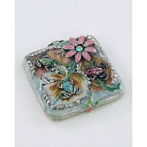 Green Frog Flowers Womens Makeup Compact Mirror w/ Swarovski Crystals