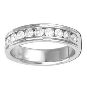 Mens 1 Carat Diamond 14k White Gold Wedding Ring Jewelry