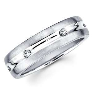 14K White Gold Round cut Diamond Mens Couple Wedding Ring