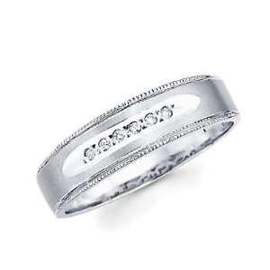 Size  10   .05ct Diamond 14k White Gold Mens Matching Wedding Ring