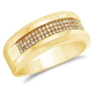Size 8   10K Yellow Gold Diamond Three Rows MENS Wedding Band Ring   w