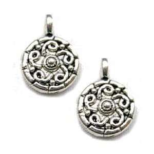 50 Silver Pewter Beads Charms Celtic Tibetan Suns 9mm