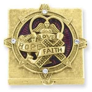 tone Faith, Hope & Love Small Pill Box/Mixed Metal