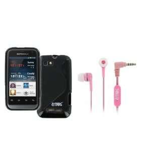 Motorola Defi Mini Poly Skin Case Cover (Black Phased) + Pink Stereo