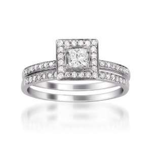 14k White Gold Princess cut & Round Diamond Bridal Set Ring (1/2 cttw