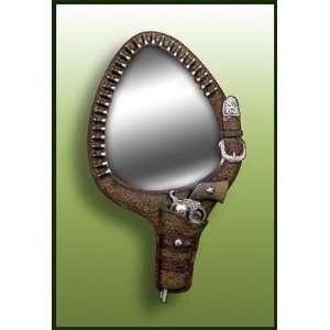 Old West Gun Belt Wall Mirror Cowboy Pistol Holster Home