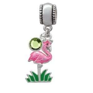 Hot Pink Flamingo European Charm Bead Hanger with Peridot