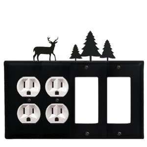 Deer and Pine Trees   Double Outlet, Double GFI Electric Cover