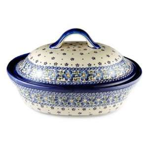 Polish Pottery Spring Blossom Oval Baker with Lid