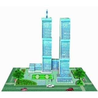 New York Twin Towers   Wooden Model Building Puzzle w/ Panoramic View