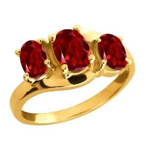 00 Ct Genuine Oval Red Garnet Gemstone 18k Yellow Gold Ring Jewelry
