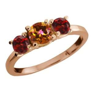 Round Ecstasy Mystic Topaz and Red Garnet 14k Rose Gold Ring Jewelry