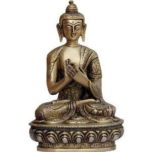 Sitting Buddha Meditating Handcrafted Brass Statue