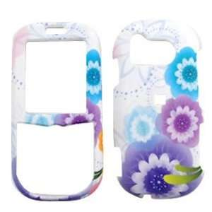 Samsung Intensity u450 Four Colorful Flowers on White Hard Case, Cover