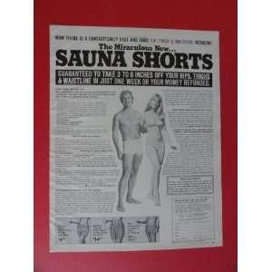 Sauna Shorts, 1970 Print Ad (woman/man/swimsuits.) Orinigal Vintage