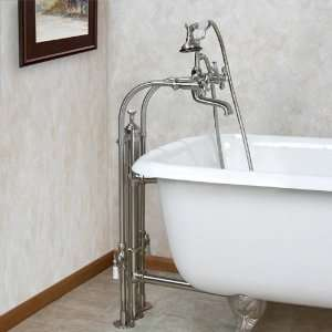 Freestanding Tub Faucet with Heavy Duty Standing Waste   Cross Handles
