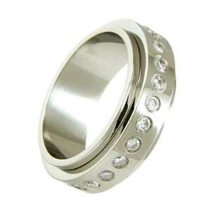 Mens Stainless Steel & Round CZ Spinner Ring   8: TrendToGo: Jewelry