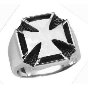 Stainless Steel Iron Cross Ring (Available in Sizes 10 to