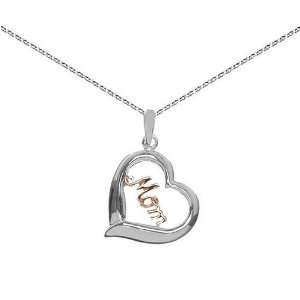 Sterling Silver and Rose Gold over Silver 12mm Heart MOM Pendant on 16
