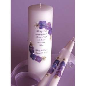 My Friend   Medium Purple Flora Crystal Unity Candle & Matching Tapers