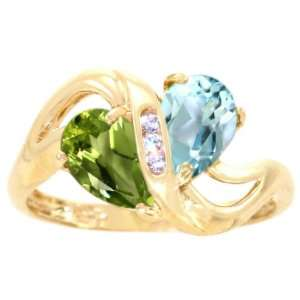 Gold Twosome Pear Gemstone Ring Multi Peridot Sky Blue Topaz, size8.5