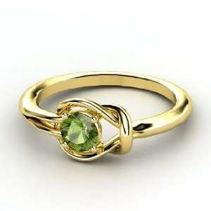 Knot Ring, Round Green Tourmaline 14K Yellow Gold Ring Jewelry