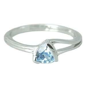 Trillion Cut 0.75 carat Swiss Blue Topaz Ring Size 10 in