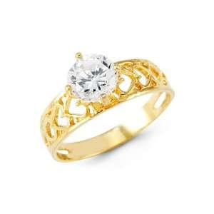 14k Yellow Gold Band Round CZ Solitaire Love Heart Ring Jewelry
