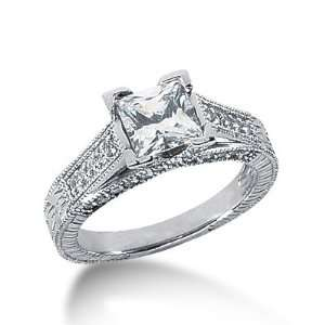 Diamond Engagement Ring Round Pave Antique 14k White Gold DALES