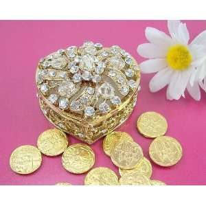 Gold Plated Crystal Heart Wedding Arras Box & Unity Coins