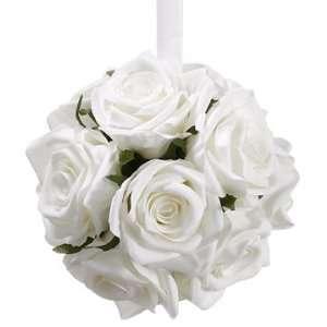 6 Silk Rose Kissing Flower Ball  White (case of 6) Home
