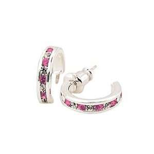 Sterling Silver Rose Pink Huggie Cubic Zirconia Earrings Jewelry