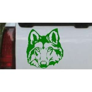 Wolf Head Animals Car Window Wall Laptop Decal Sticker    Dark Green
