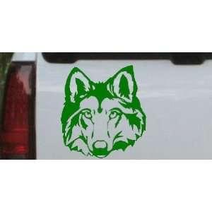 Wolf Head Animals Car Window Wall Laptop Decal Sticker    Dark Green