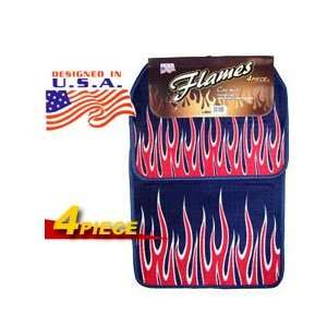 Blue Flames Universal Carpet Car Floor Mat Set (4 Piece)