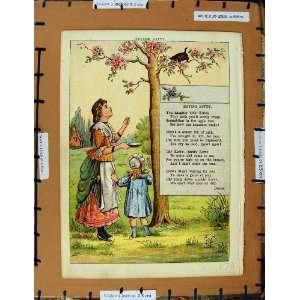 C1950 Nursery Rhyme Roving Kitty Little Girl Tree Lady