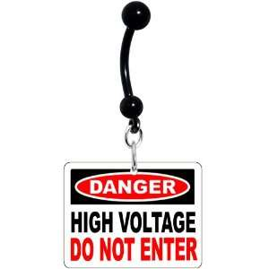 Danger High Voltage Warning Sign Belly Ring Jewelry
