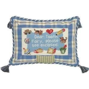 Dear Tooth Fairy Boy Petit Point Pillow   100 Percent Wool Home