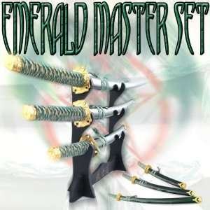 Emerald Green Samurai Master Katana Sword Set Sports