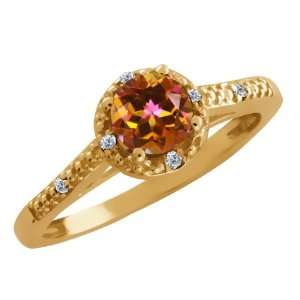 0.63 Ct Round Ecstasy Mystic Topaz and Diamond Gold Plated