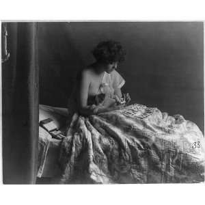 The family pet,young woman,dog,playing solitaire,c1913