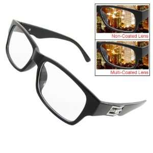 Como Men Women Black Full Rim Metal Plate Decor Arms Multi Coated Lens