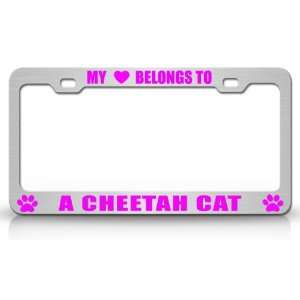 MY HEART BELONGS TO A CHEETAH Cat Pet Auto License Plate