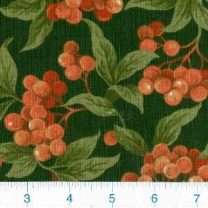 45 Wide Berry Harvest Green Fabric By The Yard: Arts