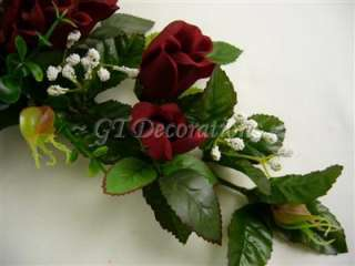 Silk Rose Bud Eucalyptus Gypso Swag/Table Centrepiece (Dark Red